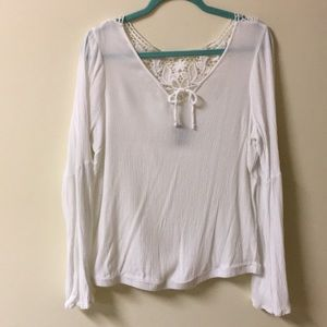 Plus Size white Bell Sleeve Blouse